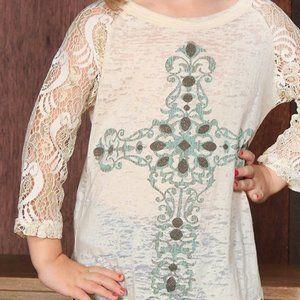 cross burnout lace sleeve raglan